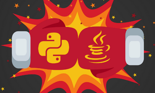 Boxing gloves with Python and Java logos.